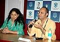 Director of the film 'Quarter Life Crisis' Kiran Merchant with producer Genevieve Castelino addressing a presss conference on November 27,2007 at IFFI, Panaji ,Goa.jpg