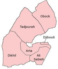 Map of the regions of Djibouti