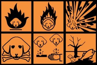 Uncyclopedia - Where available, Uncyclopedia makes use of visual aids as a complement to its text, such as these European hazard symbols that include dogs.