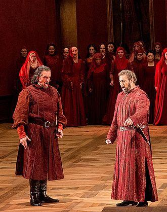 Repertoire of Plácido Domingo - Domingo (right) as the Conte di Luna in Il trovatore with Riccardo Zanellato at the 2014 Salzburg Festival