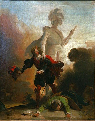 Either/Or - Don Giovanni confronts the stone guest in a painting by Alexandre-Évariste Fragonard, ca 1830–35 (Musée des Beaux-Arts de Strasbourg)