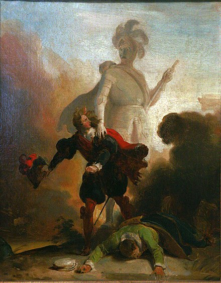 Don Giovanni confronts the stone guest in a painting by Alexandre-Evariste Fragonard, ca 1830-35 (Musee des Beaux-Arts de Strasbourg) Don Juan and the statue of the Commander mg 0119.jpg