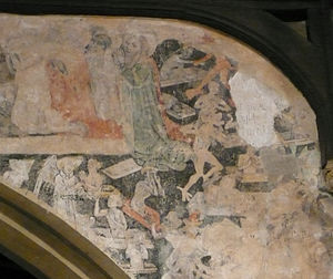 Doom paintings - Some detail from a medieval doom wall-painting, St Andrew's Church, Chesterton, Cambridge, 15th century