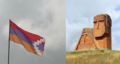 Drapeau Haut-Karabagh et monument Nous sommes nos montagnes.png