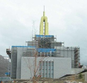 Draper Utah Temple - The Draper Utah Temple under construction in March 2008