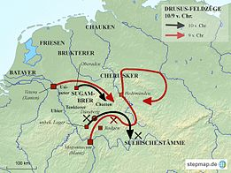 Map of the Drusus campaigns in 10 and 9 BC  Chr.