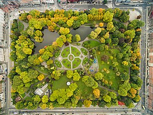 Urban park - Aerial view of Dublin's St Stephen's Green, showing greenery, paths, and a pond, surrounded by buildings