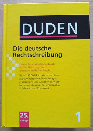 "Volume 1 ""German Orthography"" of the 25th edition of the Duden dictionary"