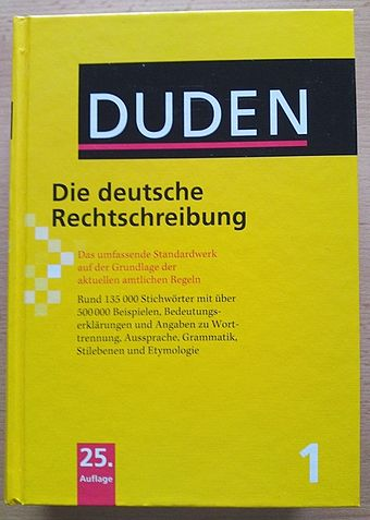"Volume 1-""The Spelling Dictionary""-of the 25 edition of the Duden dictionary. Duden 25Auflage.JPG"