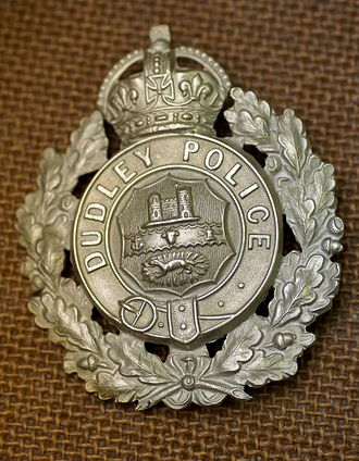 Dudley Borough Police - Dudley Borough Police cap badge, in the West Midlands Police Museum