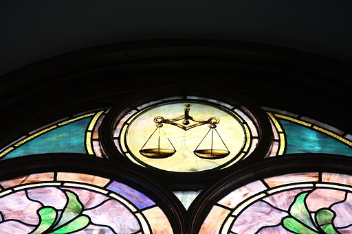 Dumbarton UMC - stained glass detail (balance scale)