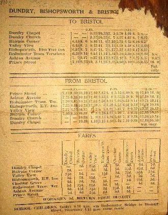 Public transport bus service - A public transport timetable for bus services in England in the 1940s and 1950s