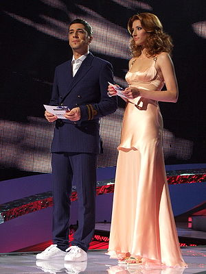 Eurovision Song Contest 2008 - Presenters Željko Joksimović and Jovana Janković during the first semi-final