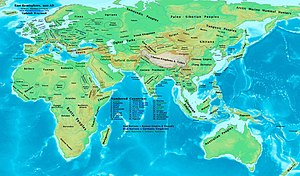 Kingdom of Nri - Eastern Hemisphere at the end of the 9th century CE showing Nri and other civilizations.