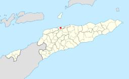 Kort over Østtimor med Dili har markeret.