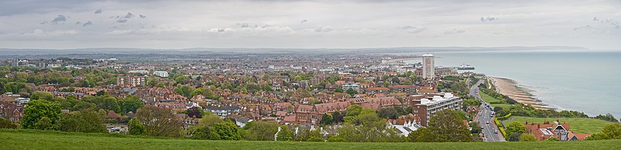 A panoramic view of Eastbourne, as seen from the west on Beachy Head