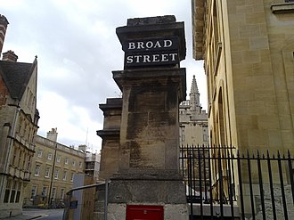 Broad Street, Oxford - The Broad Street signage pillar, on the eastern Catte Street end.