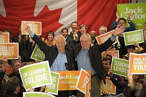 Ed Broadbent and Jack Layton at a New Democrat...