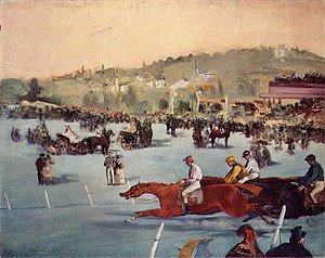 "Tout-Paris - During the 19th century Belle Époque (beautiful era), ""le Tout-Paris"" often attended horse races as a fashionable entertainment, here at Paris' Bois de Boulogne park. (Édouard Manet, Courses au Bois de Boulogne, 1872)."
