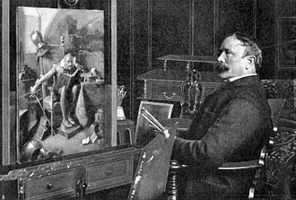Eduard von Grützner - Eduard von Grützner in front of his painting Don Quixote (1904)