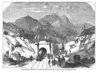 History of the Alps - Image: Eisenbahn tunnel mont cenis 1871
