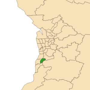 Electoral district of Hurtle Vale - 2018 boundaries shown green in Adelaide area