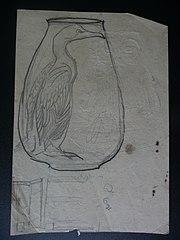 Garça e jarro - Desmembrado de um caderno de anotações
