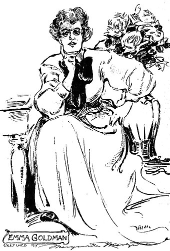 Goldman in 1908, sketched by Marguerite Martyn Emma Goldman as sketched by Marguerite Martyn, 1908.jpg