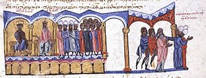Euthymius I of Constantinople - Emperor Alexander dismisses Euthymius, miniature from the Madrid Skylitzes