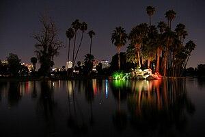 Encanto Park - Encanto Park Waterfall at night
