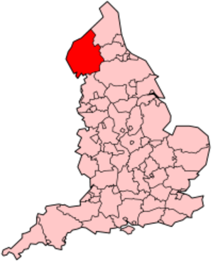 Scouting in North West England - Map of England highlighting the location of Cumbria