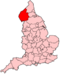 Location of Cumbria shown within England