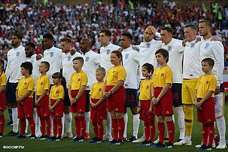 England national football team - England line-up before the last match of group G against Belgium, 28 June 2018.