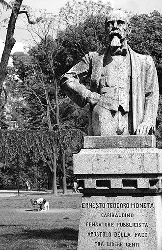 """Ernesto Teodoro Moneta - The monument to Moneta in the Porta Venezia Gardens, in Milan. The carving reads: """"Ernesto Teodoro Moneta, garibaldine, thinker, journalist, apostle of peace among free people"""""""