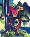 Ernst Ludwig Kirchner - Knabe mit Schleuderpfeil - Jäger im Wald - ca 1928.jpg