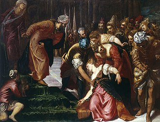 Esther before Ahasuerus - Image: Esther before Ahasuerus (1547 48); Tintoretto, Jacopo