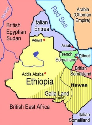 Ethiopia in 1908, according to a Rand McNally map