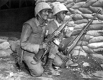 Kagnew Battalion - Ethiopian Soldiers, part of the Kagnew Battalion, 7th Inf. Div., Korea, 1953