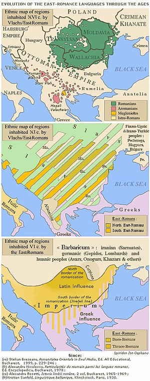 Evolution of the Eastern Romance languages and of the Wallachian territories from 6th century to the 16th century AD.jpg