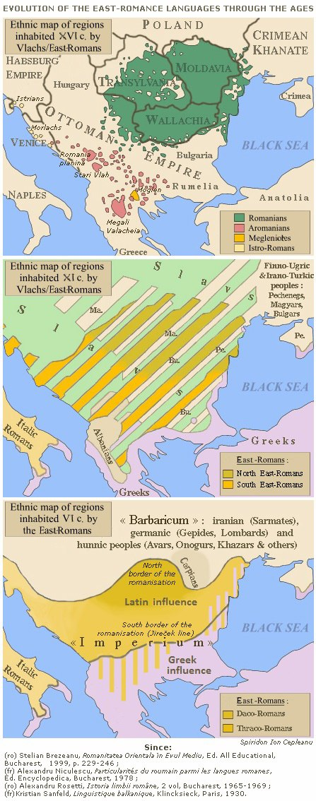Evolution of the Eastern Romance languages and of the Wallachian territories from 6th century to the 16th century AD
