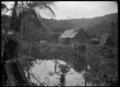 Exterior of the bush shanty bunkhouse at Glenesk (i.e. Glen Esk), near Piha. ATLIB 287361.png