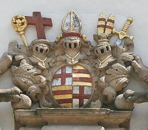 Ferdinand of Fürstenberg (1626–1683) - Coat of arms of Ferdinand of Fürstenberg on the portal of the Busdorf Church in Paderborn (1667). The Furstenberg arms are quartered with those of the Prince Bishopric of Paderborn.