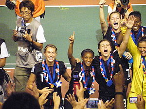Crystal Dunn - Dunn after the 2012 FIFA Under-20 World Cup awards ceremony. From left to right: 14—Mandy Laddish, 4—Crystal Dunn (who provided the assist for Ohai's goal), 3—Cari Roccaro, 7—Kealia Ohai (the goal scorer of the championship match), 9—Chioma Ubogagu, 1—Bryane Heaberlin (GK)