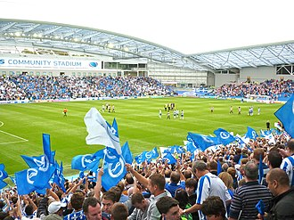 Brighton & Hove Albion F.C. - Brighton fans at Falmer Stadium during the first league game at the stadium against Doncaster Rovers