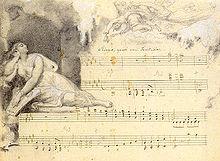 Fanny Hensel, Komposition aus dem Zyklus Das Jahr der Monat Januar, Autograph mit einer Illustration ihres Gatten Wilhelm Hensel, entstanden nach der Italienreise von 1839 (Quelle: Wikimedia)