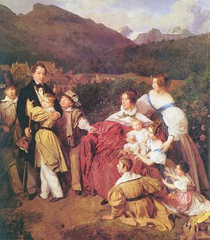 1830s in Western fashion - In the 1830s, men wore dark coats, light trousers, and dark cravats for daywear. Women's sleeves reached their ultimate width in the gigot sleeve. Here, the boys (on holiday in the mountains) wear buff-colored belted knee-length tunics with yokes and full sleeves over trousers. The girls wear white dresses with colored aprons. The Family of Dr. Josef August Eltz, Austria, 1835.