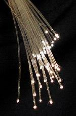 Wiązka szklanych nici ze światłem emitującym z końców