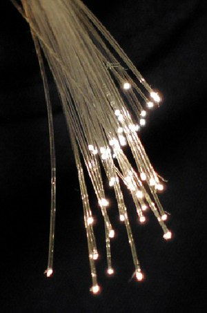 Fiber optic cables are used to transmit light from one computer/network node to another Fibreoptic.jpg