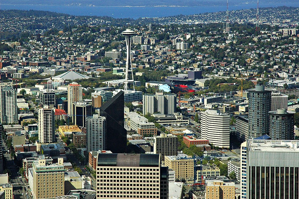 Field of buildings with the pagoda (Japanese Temple to Buddha) inspired Space Needle, Seattle, Washington