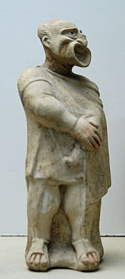 Molded terracotta figurine of an actor wearing the mask of a bald-headed white man, from the New Comedy, 2nd century BCE, from Canino, Italy